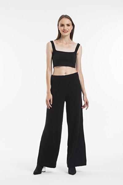 Kadın Ispanyol Paça Yüksek Bel Örme Triko Pantolon