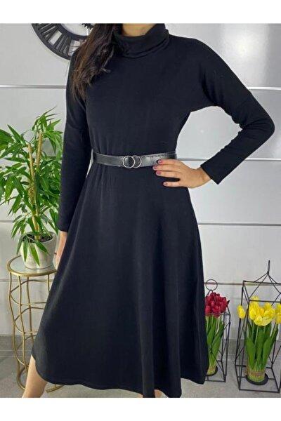 Kadın Siyah Boğazlı Midi Boy Kemerli Triko Elbise