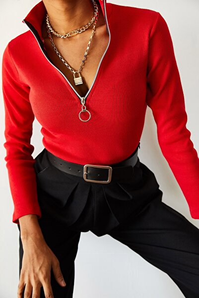 Kadın Kırmızı Kaşkorse Fermuarlı Bluz 0YZK8-10566-04