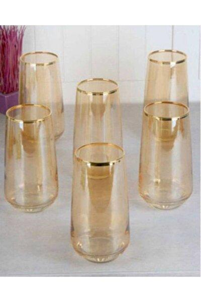 Lal Gold Bal Rengi 6 Adet Büyük Boy Meşrubat Su Bardağı Seti