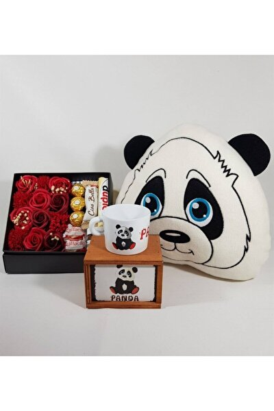 Sevgiliye Hediye Gül Kutusunda Ferrero Çikolata Panda Kutulu Kupa Ve Yastık Set