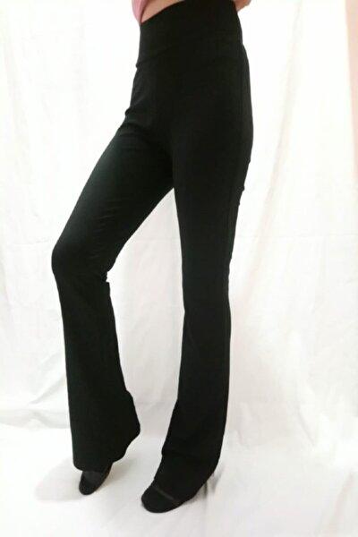 Kadın Siyah Yüksel Bel İspanyol Paça Pantolon