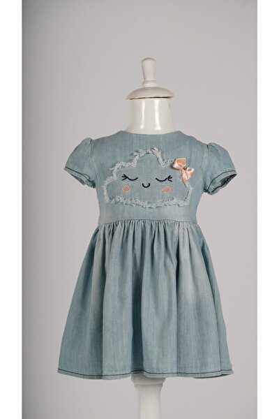 Kız Mavi Kot Jile Çocuk Elbise