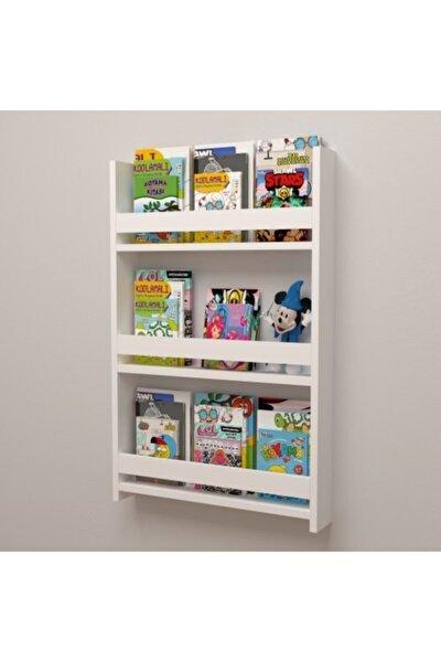 Beyaz Montessori Çocuk Odası Eğitici Duvar Rafı Kitaplık
