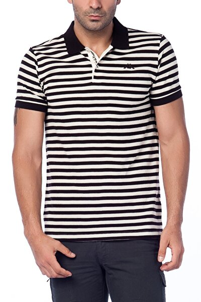 Erkek Siyah Beyaz Ringel Pike Tişört