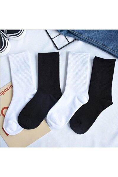 4 Çift Paket Siyah Beyaz Çizgisiz Pamuklu Kolej Tenis Çorabı