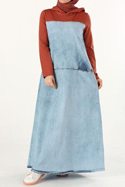 Kadın Mavi Pamuklu Denim Elbise