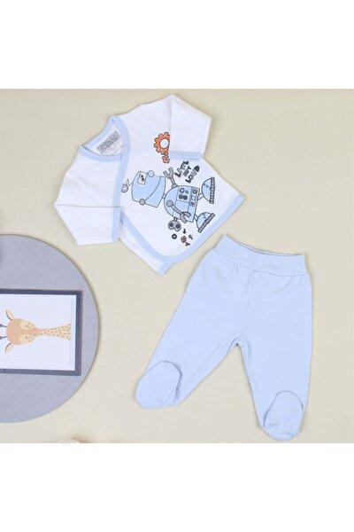 Erkek Bebek Mavi Robot Baskılı Zıbın Takım