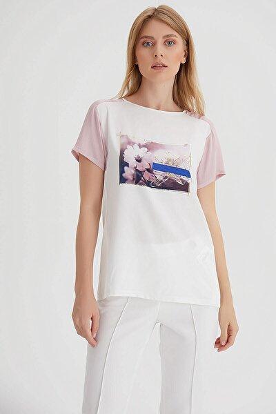 Kadın Ekru Baskılı Bluz