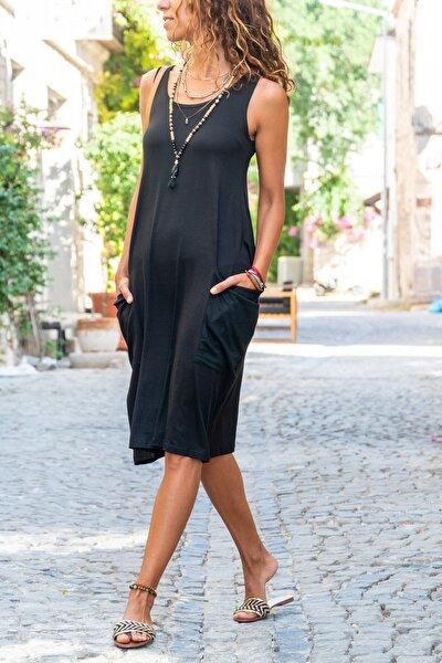Kadın Siyah Salaş Cepli Elbise GK-CCK58059