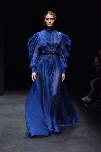Kadın Saks Mavi Şifon Elbise