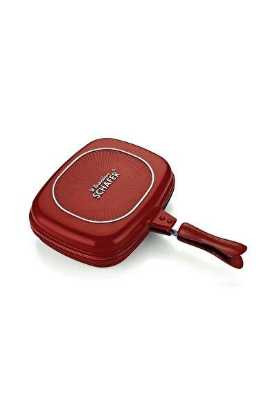 Kare Double Grıll Pan 32 Cm 2 Parça Kırmızı