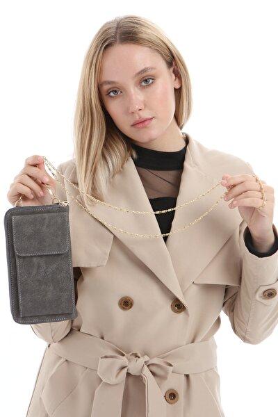 Kadın Füme Gri Sade Düz Zincir Askılı Telefonluk Kartlık Çanta Cüzdan