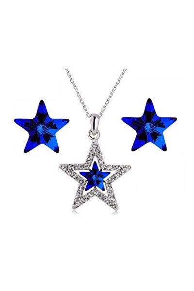 Kadın Mavi Kristal Taşlı Yıldız Kolye Küpe Takı Seti ALM003418