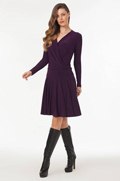 Kadın Mürdüm Kruvaze Yaka Elbise 19L6440