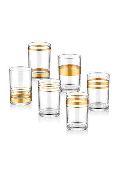 Lines Kahve Yanı Su Bardağı 6'lı Set - Gold