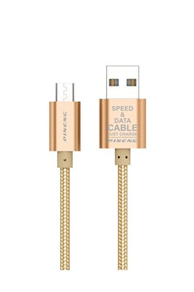PN-306 Yüksek Hızlı Micro USB 2 Metre Örgülü Altın Data Sarj Kablosu