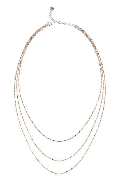 Kadın Rose-Gümüş Katmer Aynalı Üçlü Kolye Kısa C558