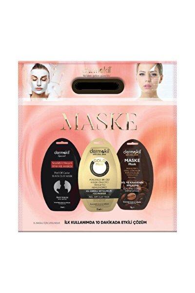 3 Lü Maske Seti-soyulabilir Havyarlı/ Altın / Kil Ve Kahve