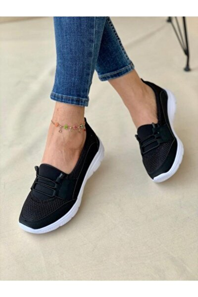 Beyaz Tabanlı Siyah Ortopedik Günlük Ayakkabı