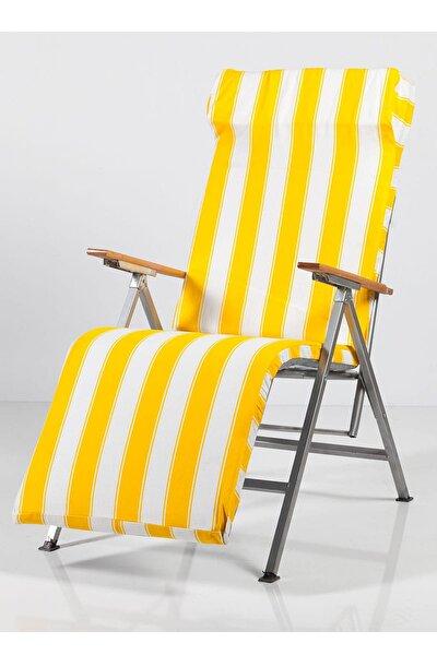 Bahce Şezlong Katlanır Sandalye Plaj Koltuğu Minderli 2147