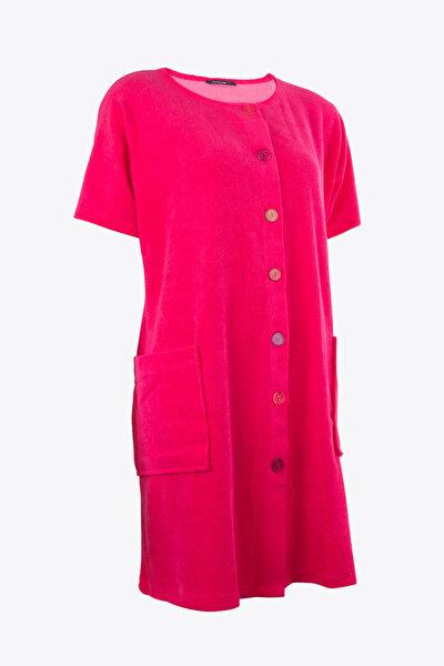 Kadın Renkli Önden Düğmeli Havlu Elbise 59515/4933