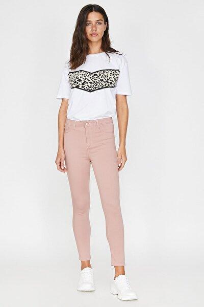 Kadın Pembe Normal Bel Cep Detaylı Dar Kesim Pantolon 9YAL41006MW