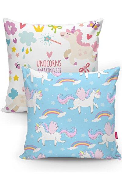Unicorns Motifli Çocuk Odası 2'li Yastık Kırlent Kılıfı Seti