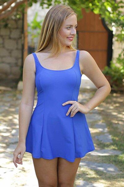 Kadın Saks Mavi Toplayıcı Şortlu Mayo 8754