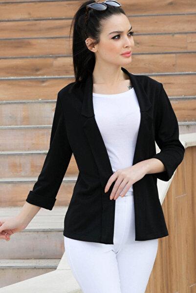 Kadın Siyah Duble Kol Yakalı Ceket ARM-17Y00040