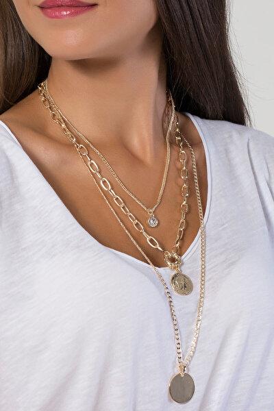 Kadın Altın Sarısı Madalyonlu Üçlü Kolye UK9236