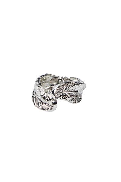 Kadın Gümüş Renk Yaprak Detaylı Kelepçe Bileklik H0755