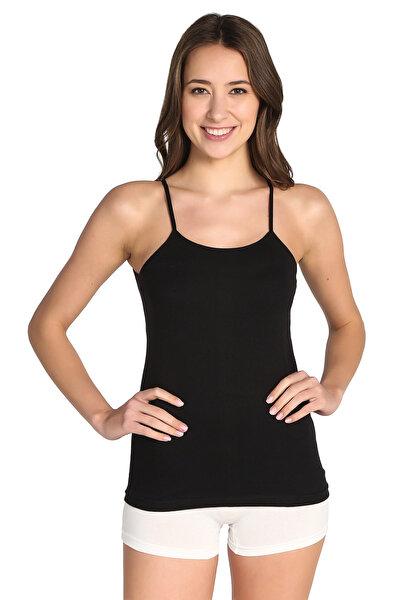 Kadın Siyah 4'lü Paket  İp Askılı Atlet ELF568T0135CCM4