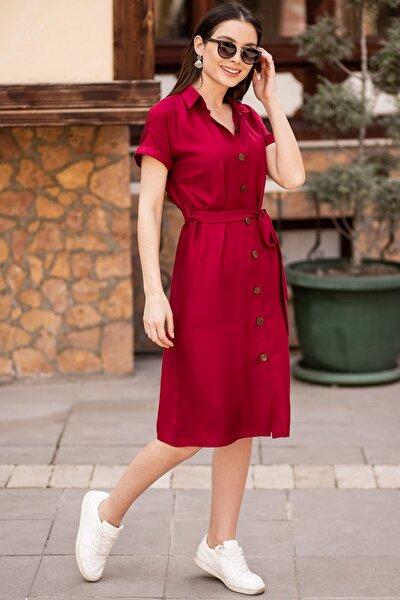Kadın Bordo Beli Kemerli Kısa Kol Gömlek Elbise ARM-19Y001068