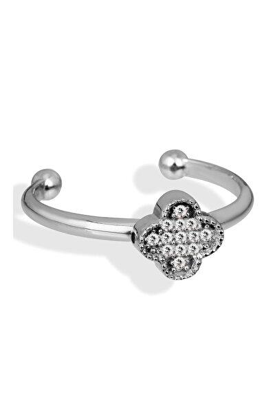 Kadın 925 Ayar Gümüş Zirkon Taşlı Gümüş Çiçek Yüzük Y006501