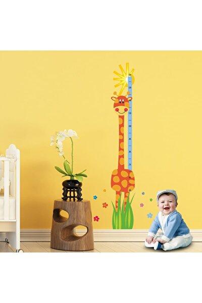 Neşeli Zürafa Boy Ölçer Duvar Sticker