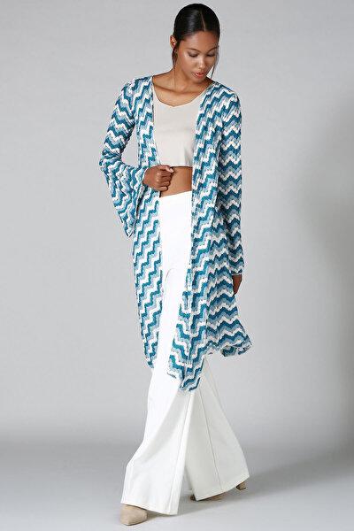 Kadın Mavi Beyaz Desenli Triko Hırka HK2107