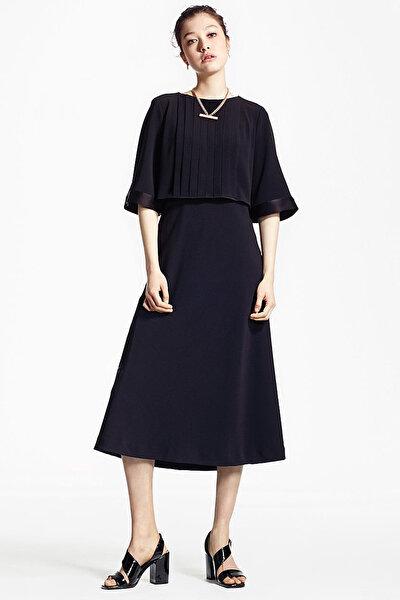 Kadın Siyah Pilili Yarım Kol Elbise