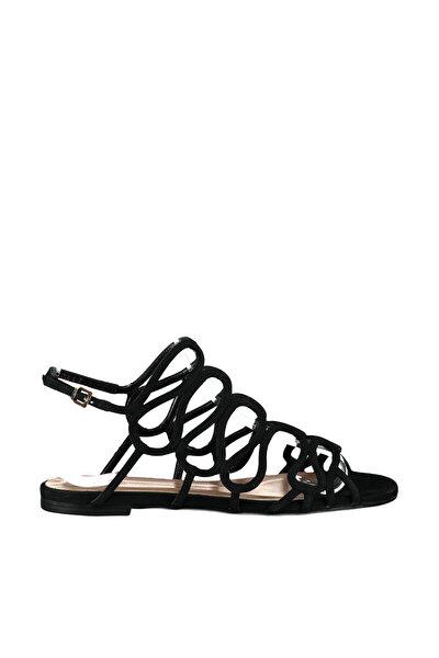 Hakiki Deri Siyah Kadın Sandalet