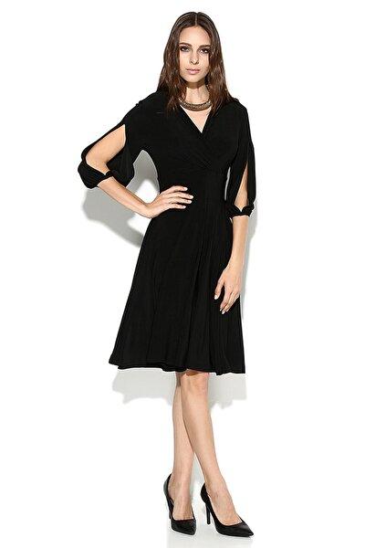 Kadın Siyah Kolda Yırtmaç Detay Elbise 15L4204