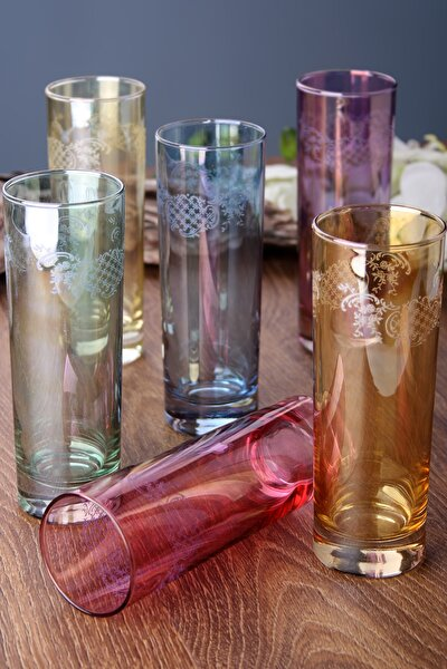 Leaves Renkli 6'Lı Meşrubat Bardağı Seti Fu-209205
