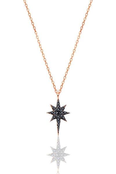 Kadın Gümüş Siyah Taşlı Kutup Yıldızı Kolye SGTL9569
