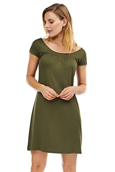 Kadın Haki Kısa Kollu Penye Elbise 59333