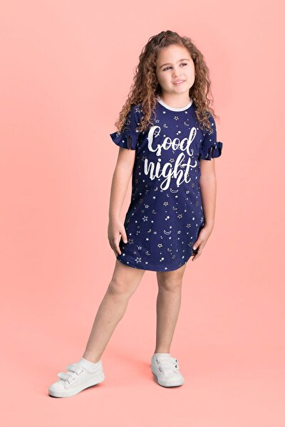 Good Night Lacivert Kız Çocuk Gecelik
