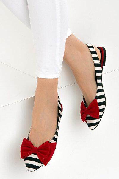 Siyah Beyaz Kırmızı Kadın Babet D726774404