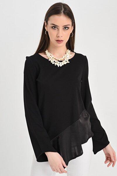 Kadın Siyah Uzun Kollu Siyah Eteği  Asimetrik Şifon Bluz Hn1064