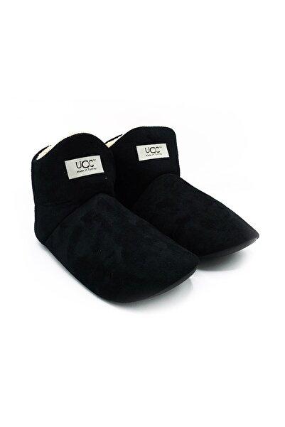 Unisex Siyah Içi Yünlü Ev Pandufu Ev Botu Ev Ayakkabısı