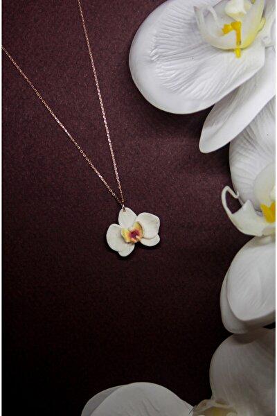 Beyaz Orkide El Yapımı 24k Rose Altın Kaplama Gümüş Kolye