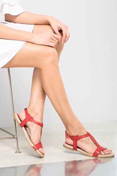 Hakiki Deri Kırmızı Kadın Sandalet 120120125010