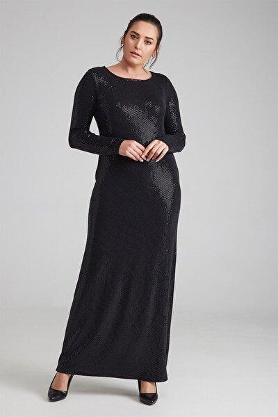Kadın Elbise Parlak Nokta Baskılı Siyah-Bb PRA-236733-335769